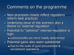 comments on the programme