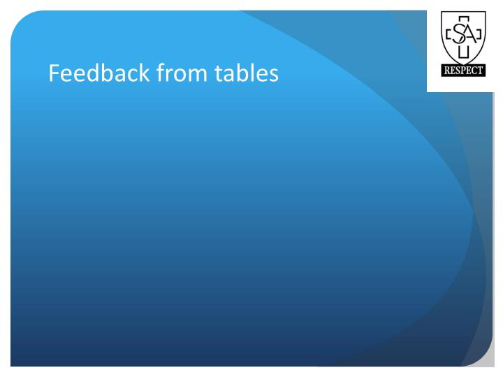 Feedback from tables