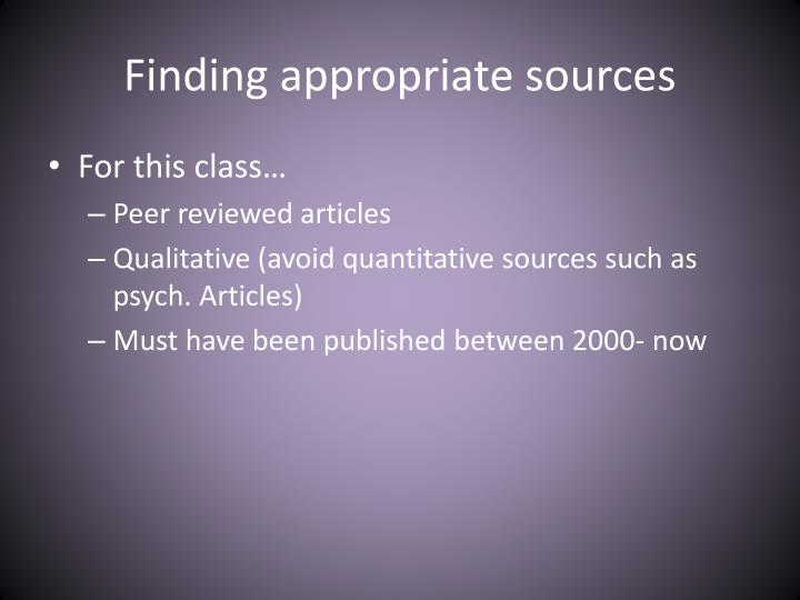 Finding appropriate sources