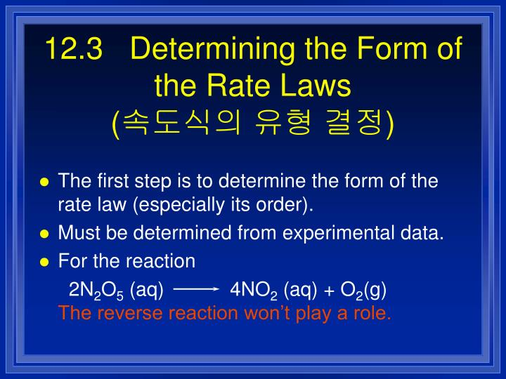 12.3   Determining the Form of the Rate Laws