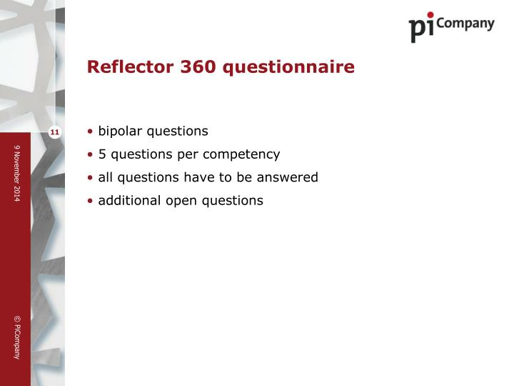 Reflector 360 questionnaire