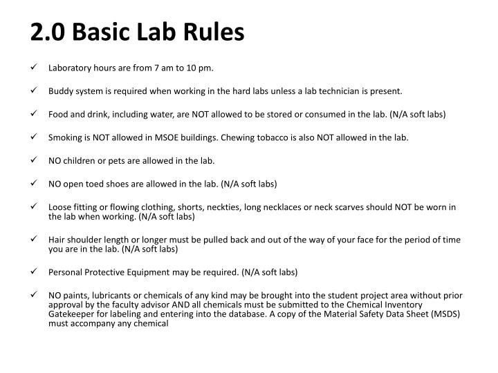 2 0 basic lab rules