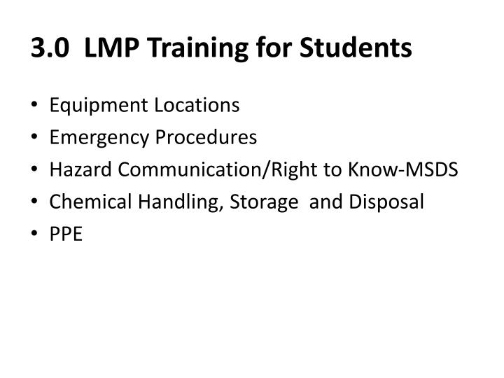 3.0  LMP Training for Students