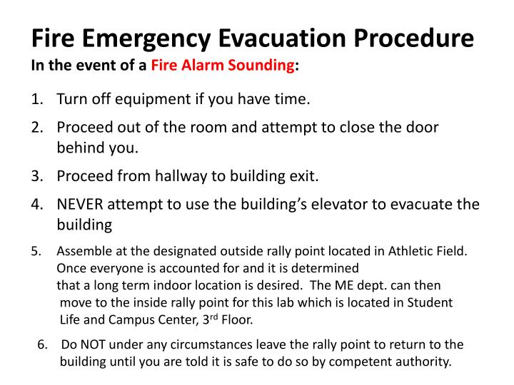 Fire Emergency Evacuation Procedure