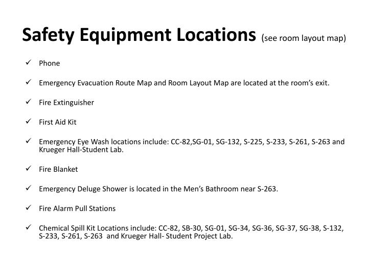 Safety Equipment Locations