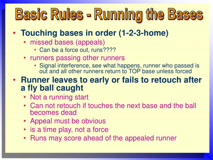 Basic Rules - Running the Bases