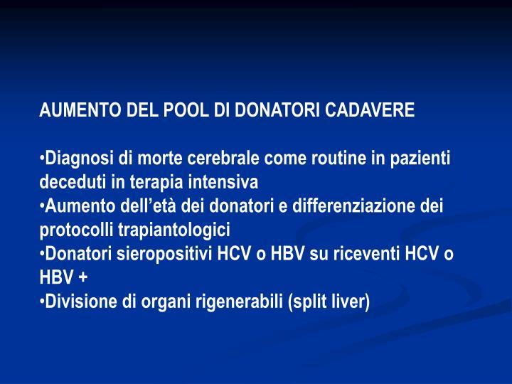 AUMENTO DEL POOL DI DONATORI CADAVERE