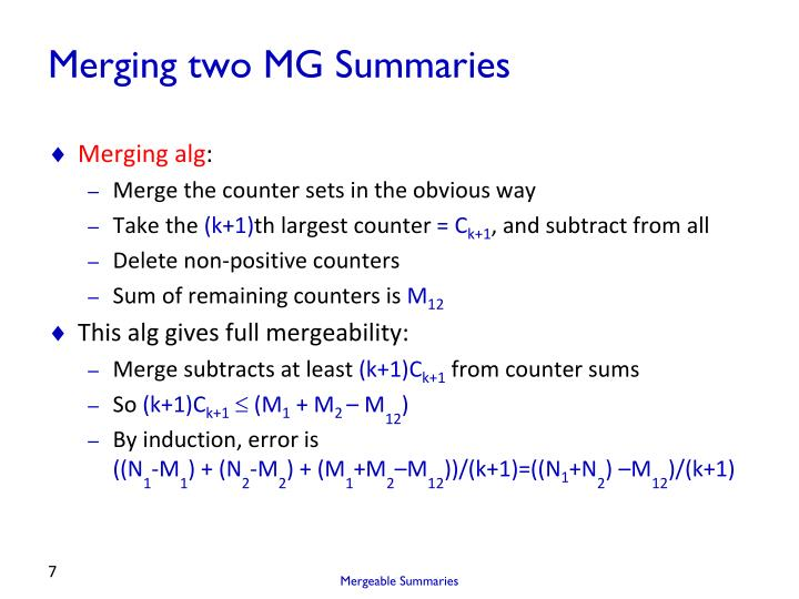 Merging two MG Summaries