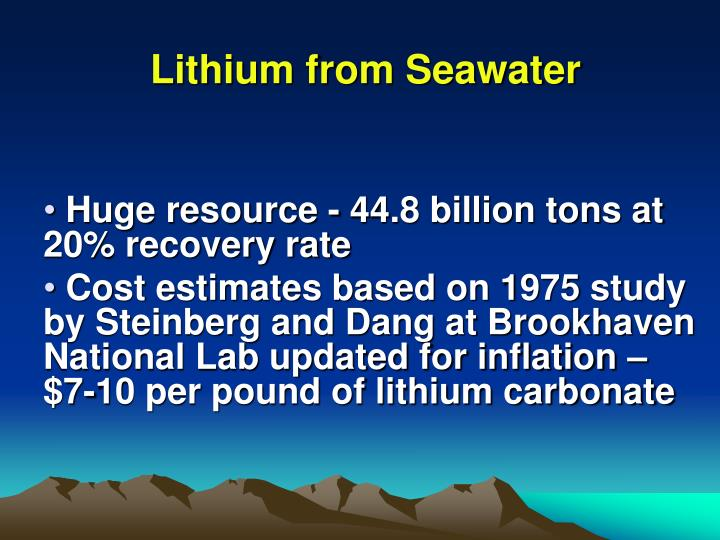 Lithium from Seawater