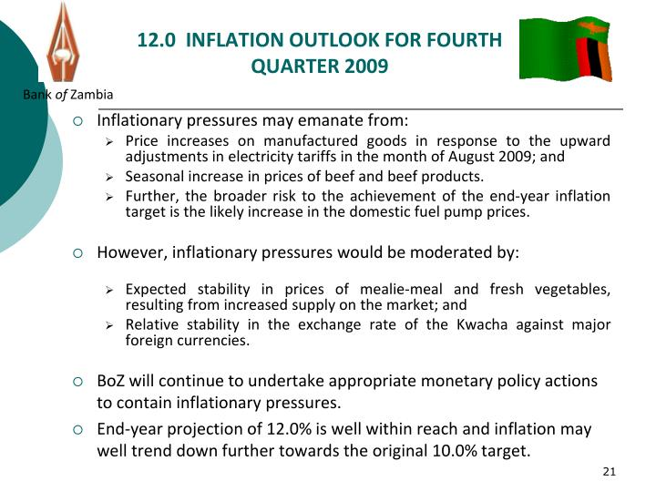 12.0  INFLATION OUTLOOK FOR FOURTH QUARTER 2009
