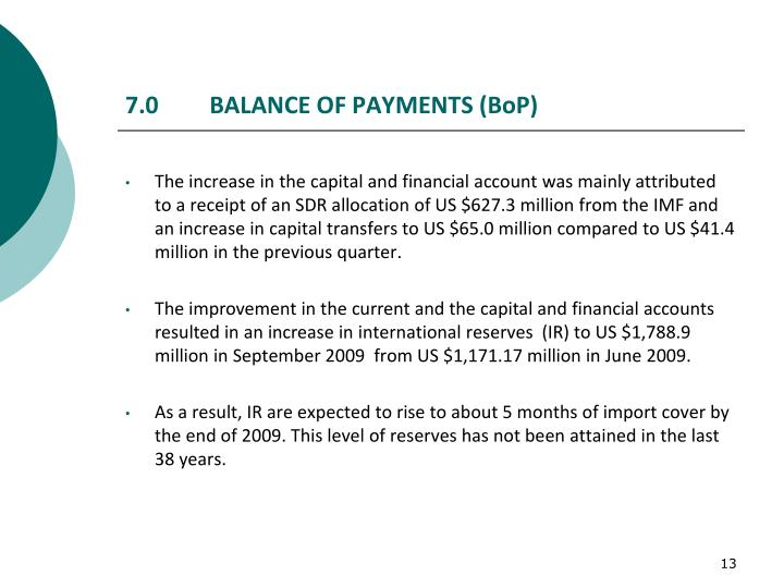 7.0	 BALANCE OF PAYMENTS (BoP)