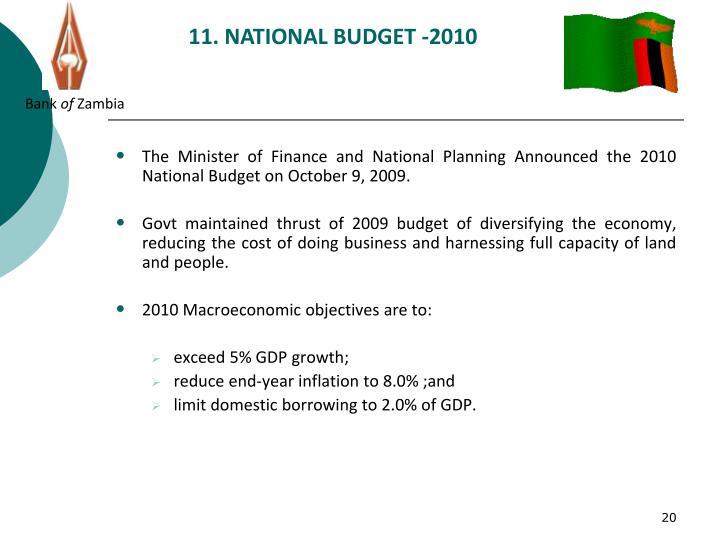 11. NATIONAL BUDGET -2010