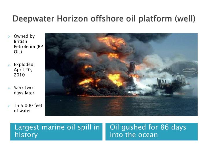 Deepwater horizon offshore oil platform well