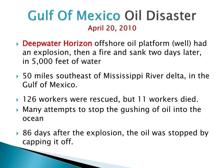 Gulf of mexico oil disaster april 20 2010