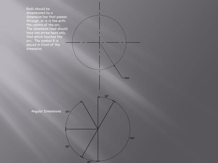 Radii should be dimensioned by a dimension line that passes through, or is in line with, the centre of the arc.  The dimension lines should have one arrow head only, that which touches the arc.  The symbol R is placed in front of the dimension.