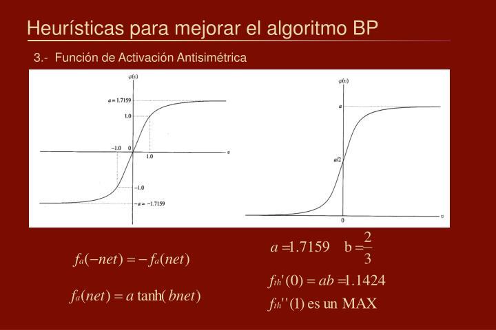 Heurísticas para mejorar el algoritmo BP