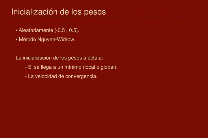 Inicialización de los pesos