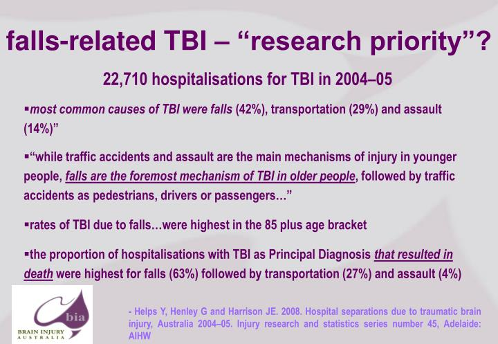 "falls-related TBI – ""research priority""?"