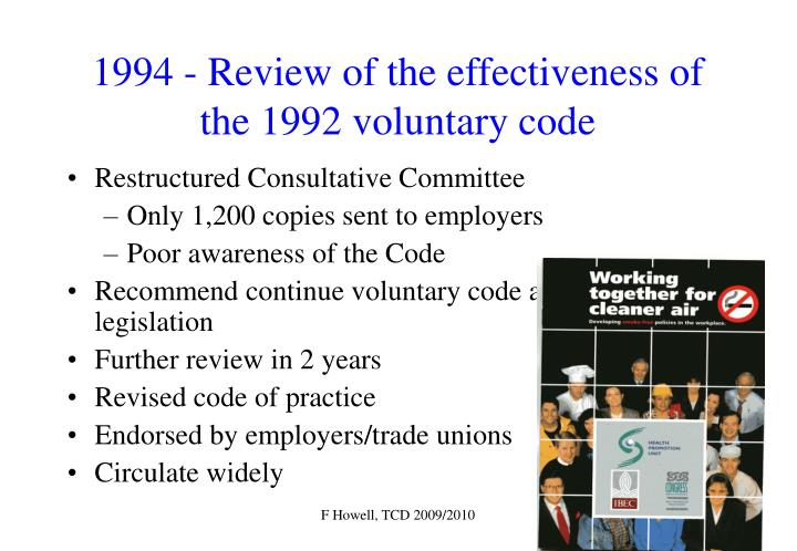 1994 - Review of the effectiveness of the 1992 voluntary code