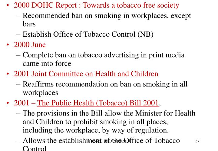 2000 DOHC Report : Towards a tobacco free society