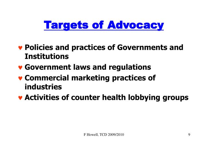 Targets of Advocacy