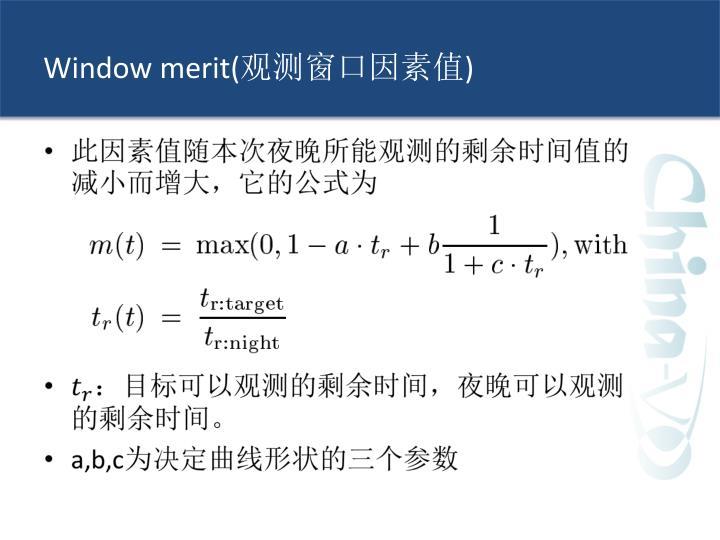 Window merit(
