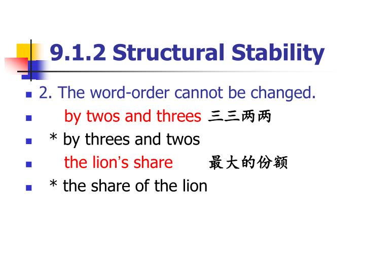 9.1.2 Structural Stability