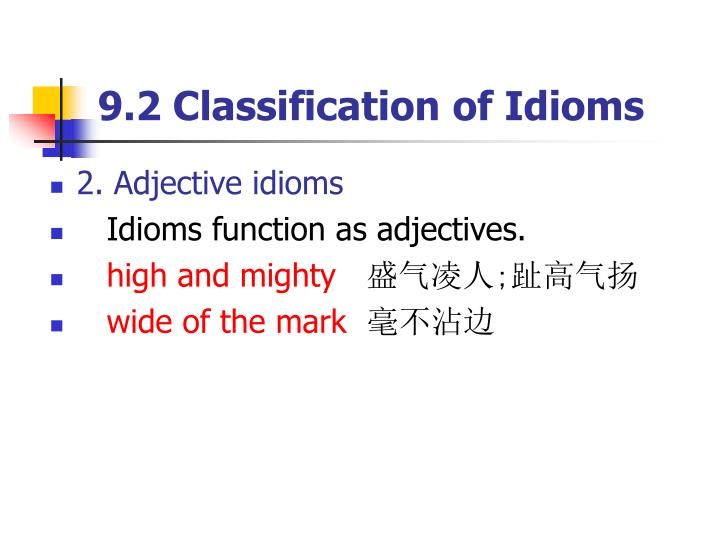 9.2 Classification of Idioms