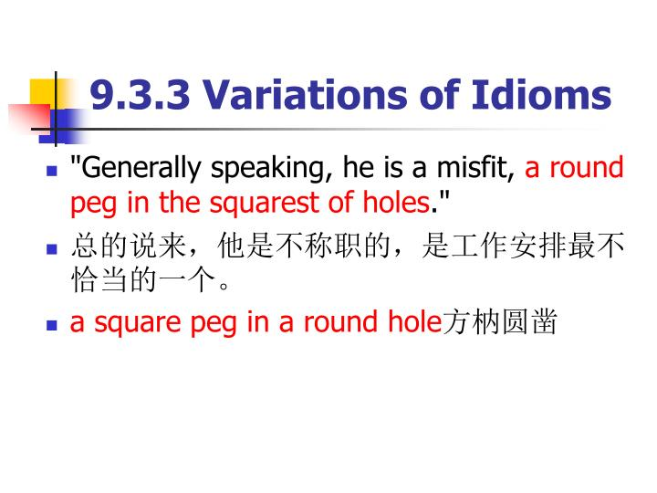 9.3.3 Variations of Idioms