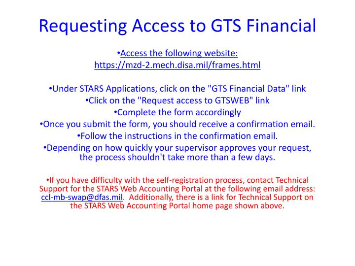 Requesting access to gts financial