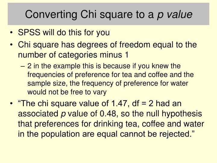 Converting Chi square to a