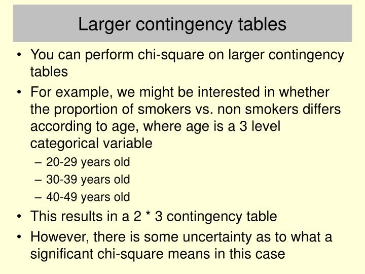 Larger contingency tables