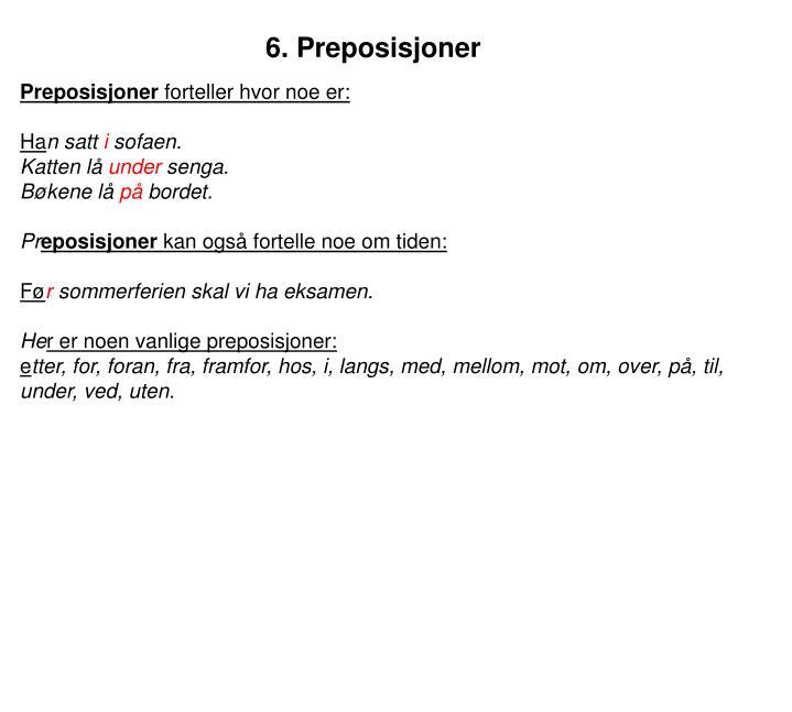 6. Preposisjoner