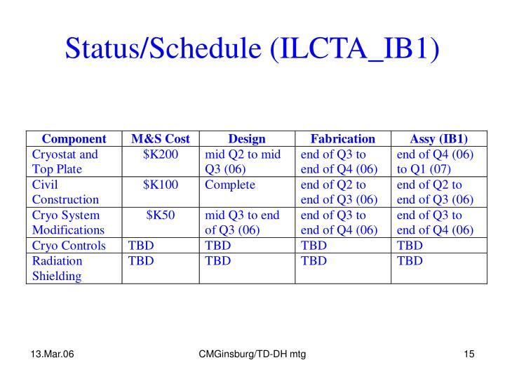 Status/Schedule (ILCTA_IB1)