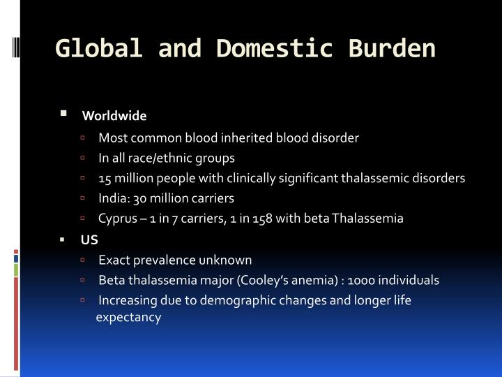 Global and Domestic Burden