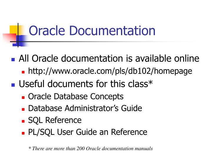 Oracle Documentation