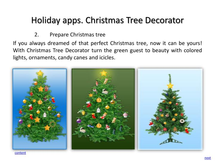 Holiday apps. Christmas Tree Decorator