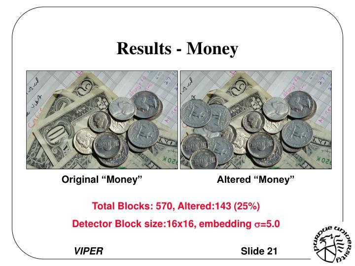 Results - Money