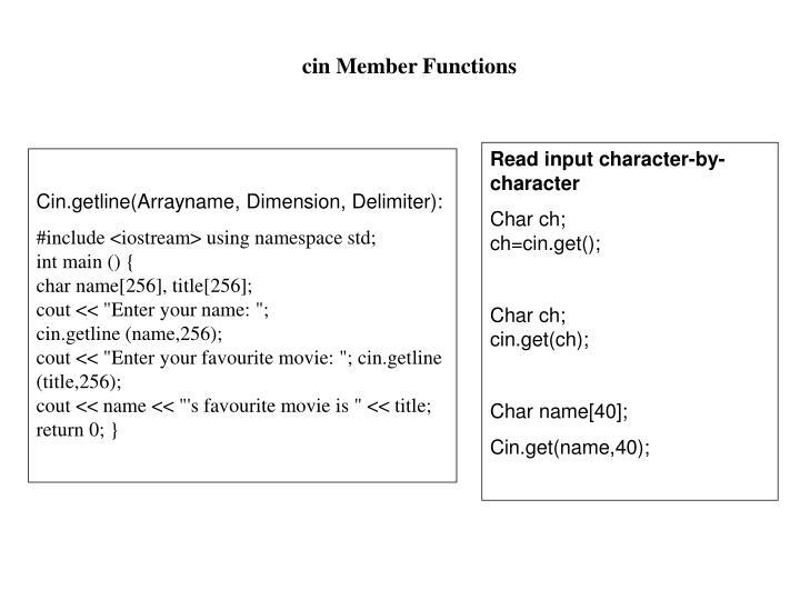 cin Member Functions