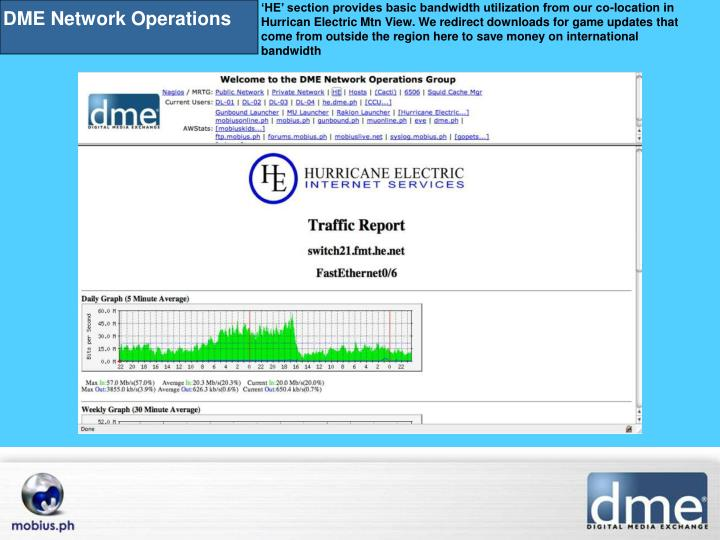 'HE' section provides basic bandwidth utilization from our co-location in Hurrican Electric Mtn ...