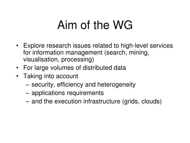 Aim of the wg