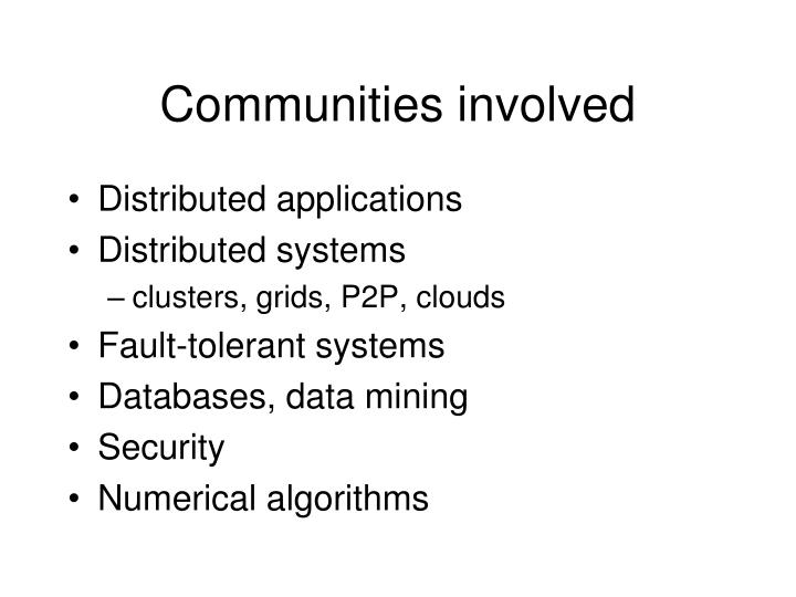 Communities involved