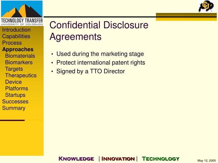 Confidential Disclosure Agreements