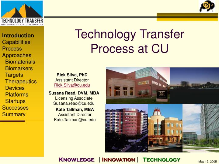 Technology transfer process at cu