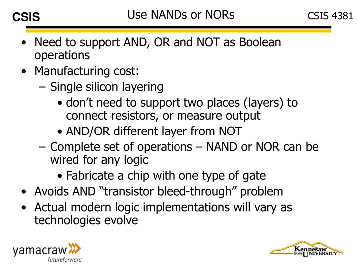 Use NANDs or NORs