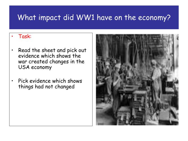 What impact did ww1 have on the economy2