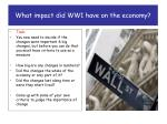 what impact did ww1 have on the economy3