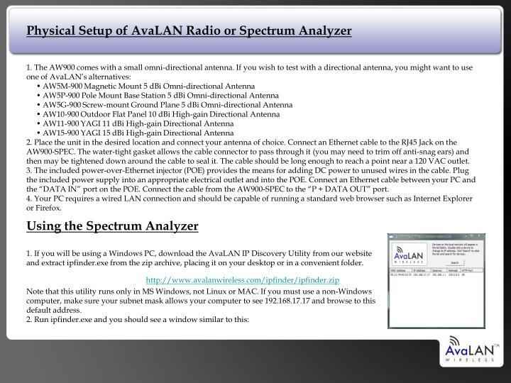 Physical Setup of AvaLAN Radio or Spectrum Analyzer