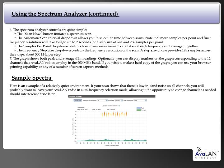 Using the Spectrum Analyzer (continued)