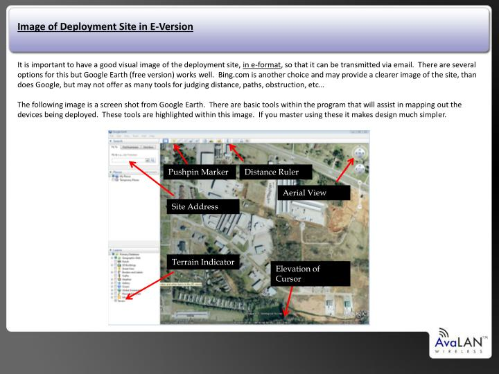 Image of Deployment Site in E-Version